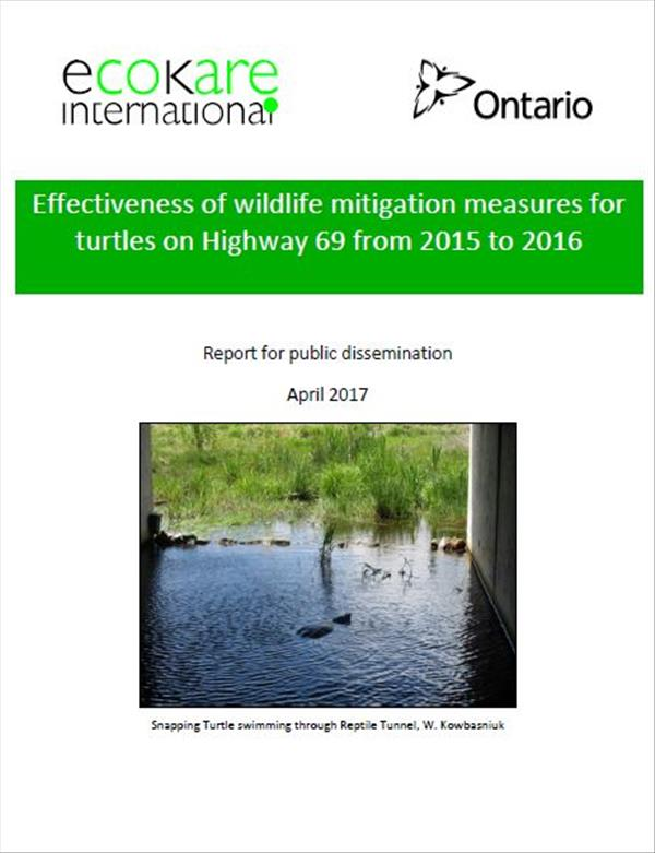 Effectiveness of wildlife mitigation measures for turtles on Highway 69 from 2015 to 2016