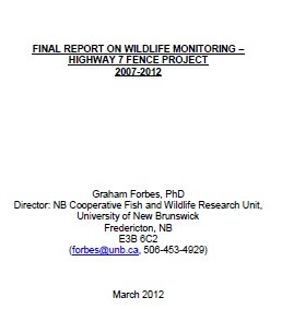 Final Report on Wildlife Monitoring – Highway 7 Fence Project 2007-2012
