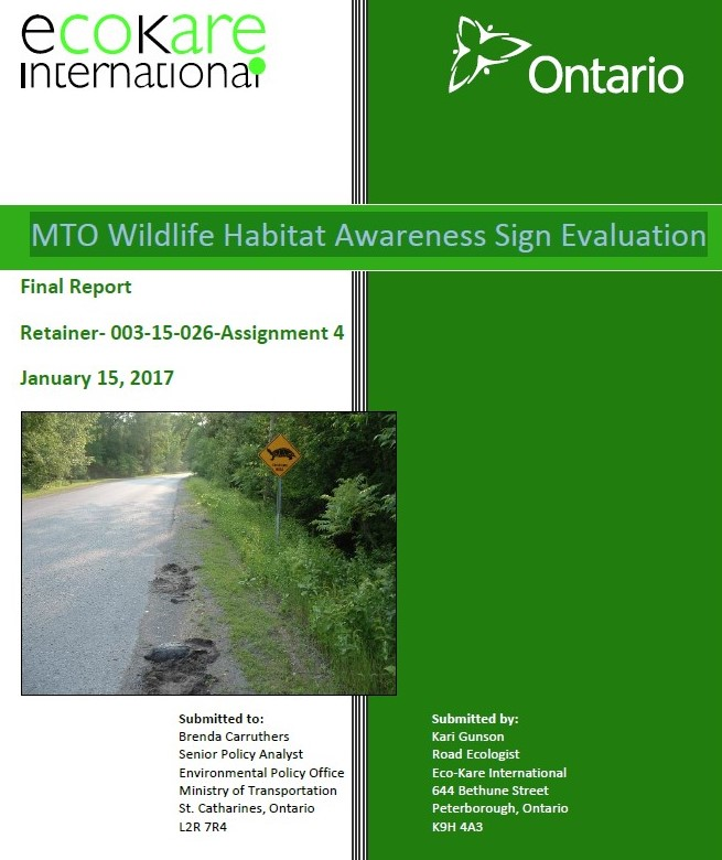 MTO Wildlife Habitat Awareness Sign Evaluation