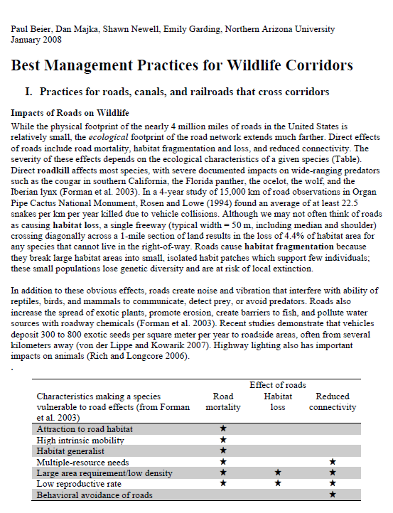 Best Management Practices for Wildlife Corridors