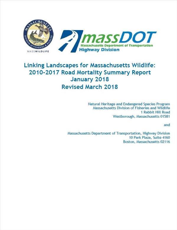 Linking Landscapes for Massachusetts Wildlife: 2010-2017 Road Mortality Summary Report January 2018 Revised March 2018