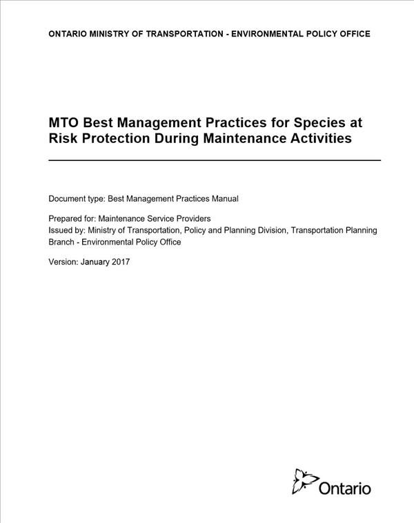 MTO Best Management Practices for Species at Risk Protection During Maintenance Activities
