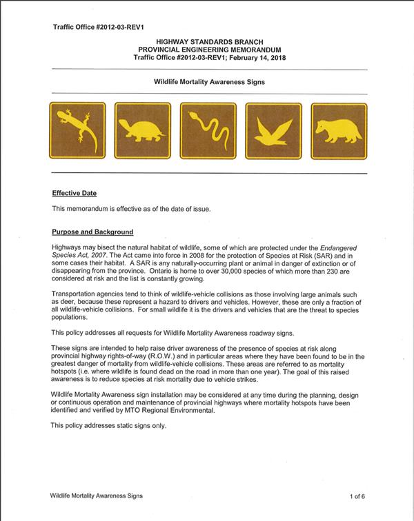 Wildlife Mortality Awareness Signs Provincial Memo
