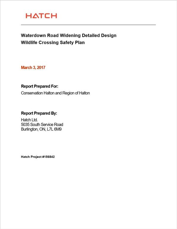Waterdown Road Widening Detailed Design Wildlife Crossing Safety Plan