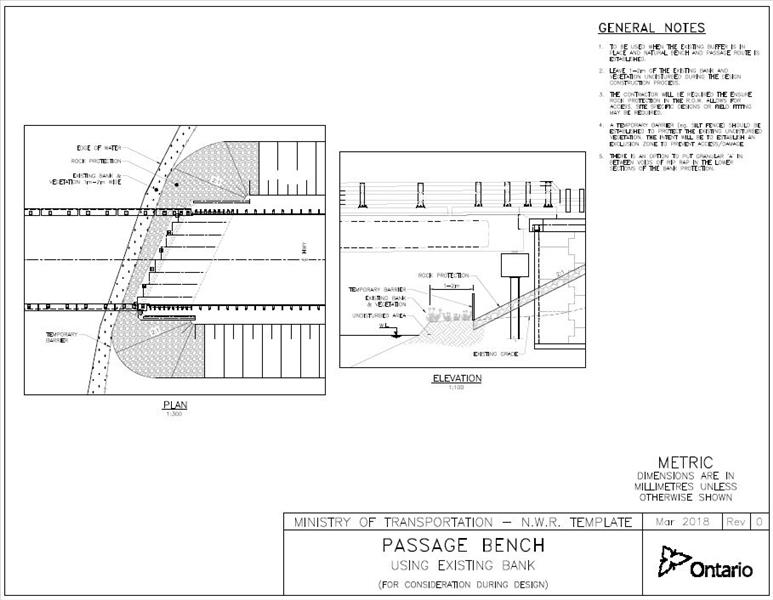 MTO Wildlife Passage Bench Template - Using Existing Bank