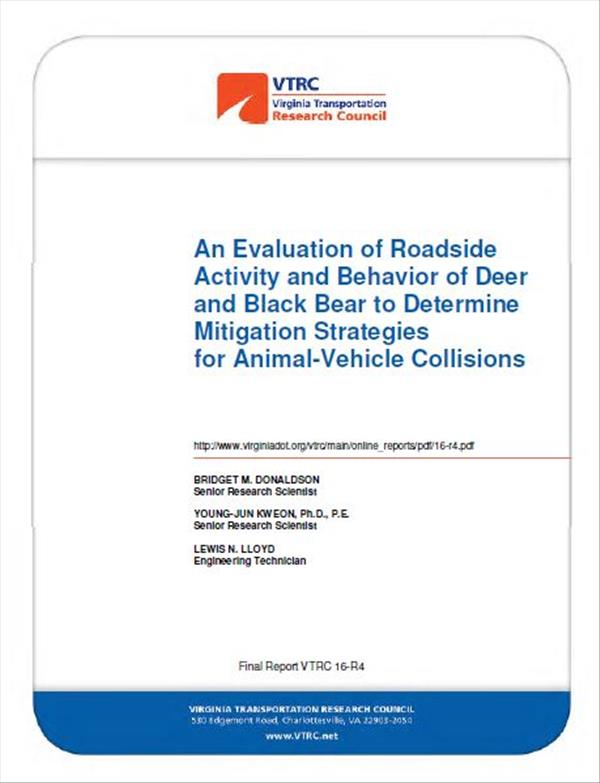 An Evaluation of Roadside Activity and Behavior of Deer and Black Bear to Determine Mitigation Strategies for Animal-Vehicle Collisions